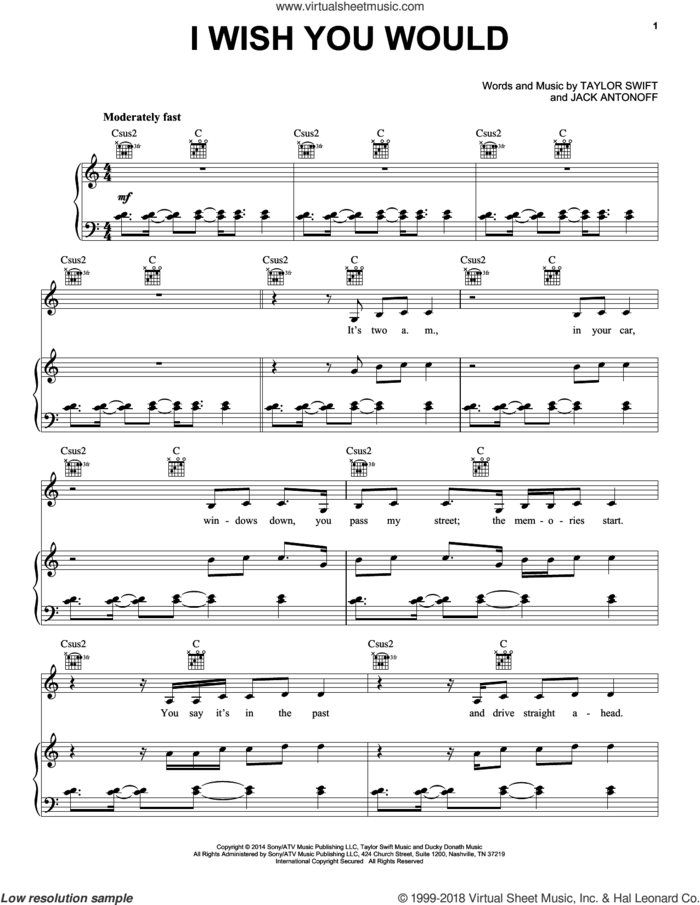 I Wish You Would sheet music for voice, piano or guitar by Taylor Swift and Jack Antonoff, intermediate skill level