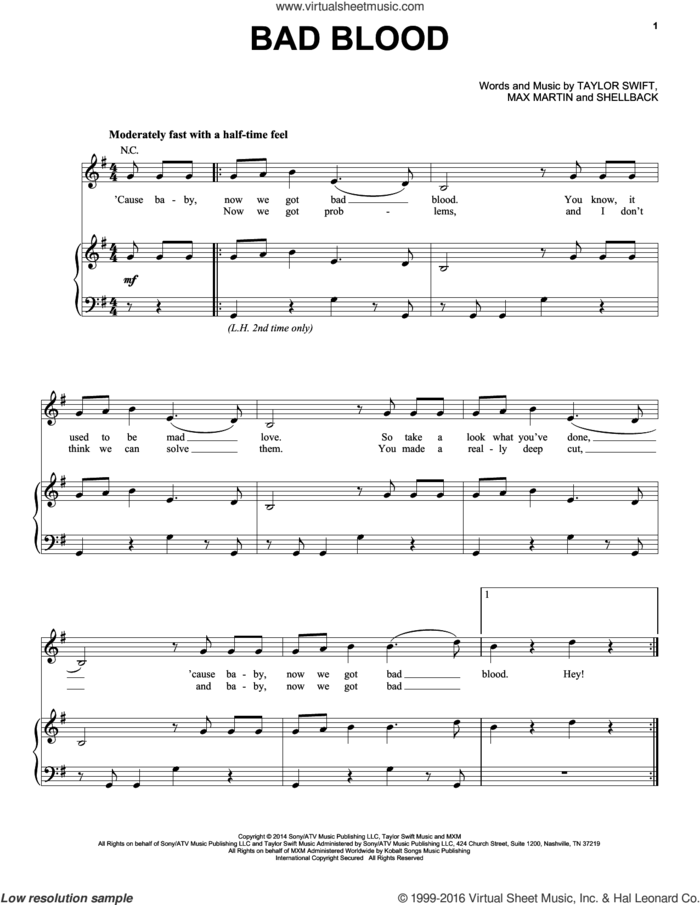 Bad Blood sheet music for voice, piano or guitar by Taylor Swift, Johan Schuster, Max Martin and Shellback, intermediate skill level