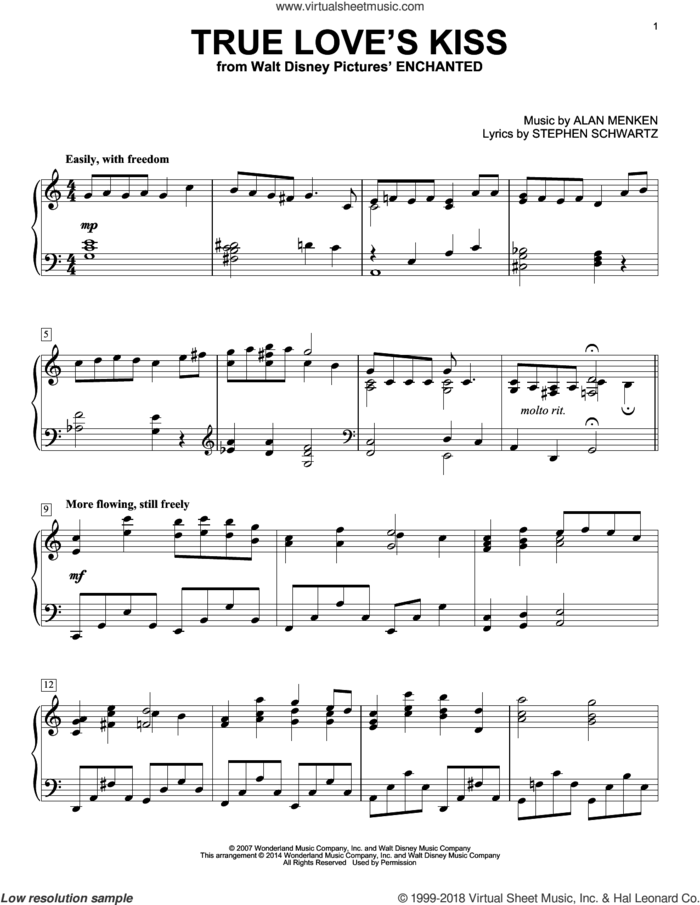 True Love's Kiss sheet music for piano solo by Alan Menken and Stephen Schwartz, intermediate skill level