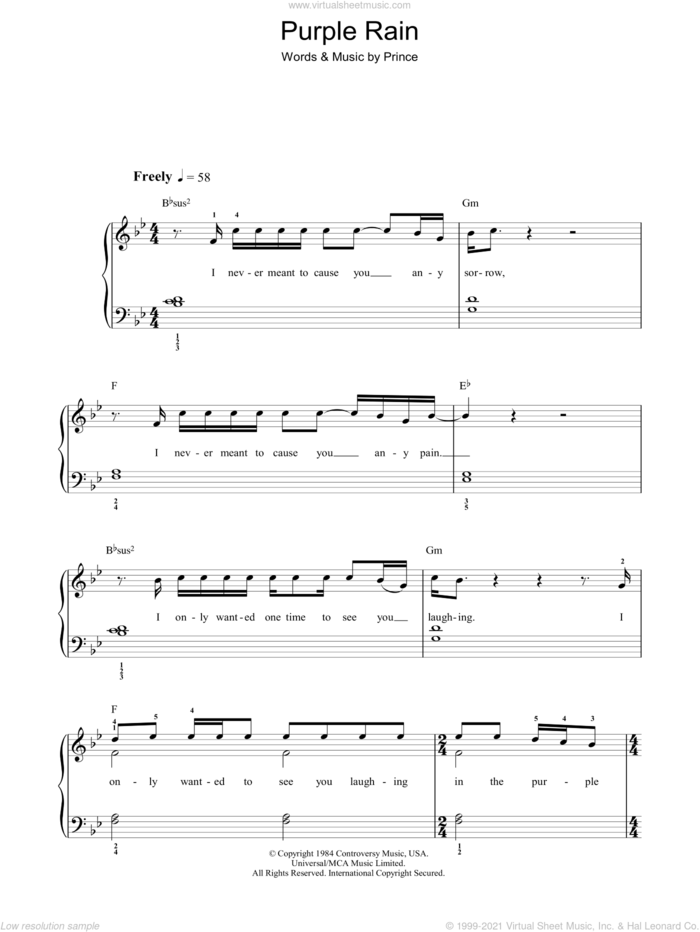 Purple Rain sheet music for piano solo by Prince and Prince & The Revolution, easy skill level