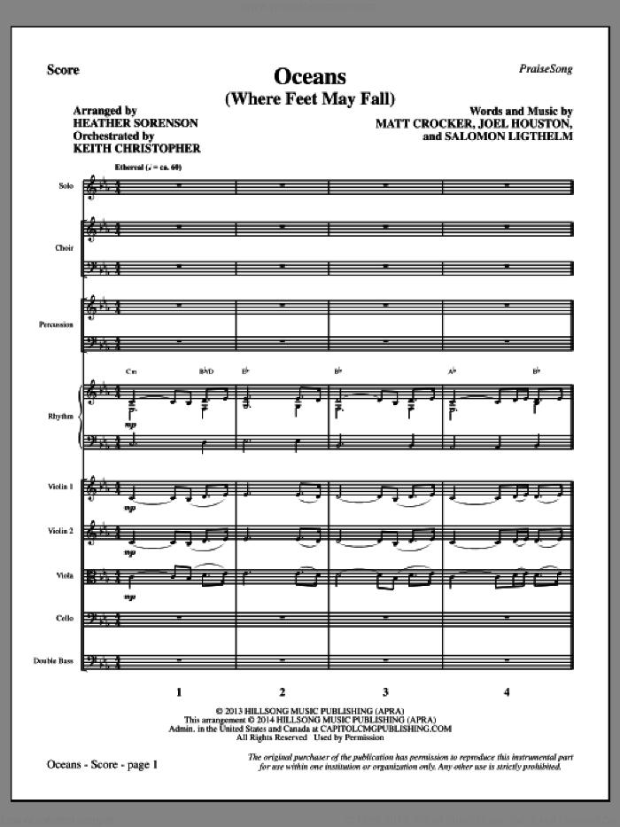 Oceans (Where Feet May Fail) (COMPLETE) sheet music for orchestra/band by Heather Sorenson, Hillsong United, Joel Houston, Matt Crocker and Salomon Lighthelm, intermediate skill level