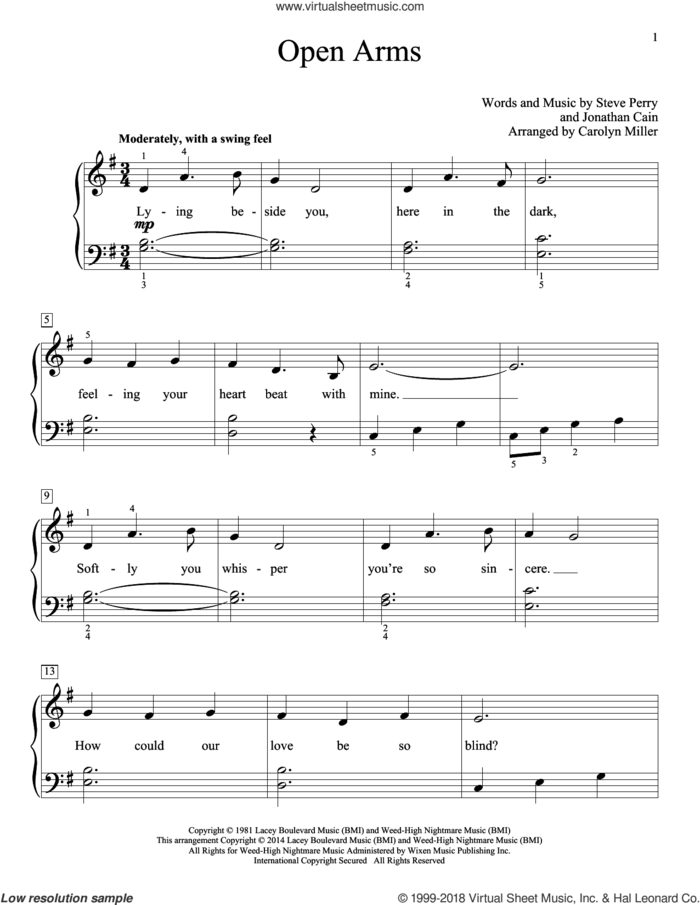 Open Arms sheet music for piano solo (elementary) by Steve Perry, Carolyn Miller, John Thompson, Journey, Mariah Carey and Jonathan Cain, beginner piano (elementary)