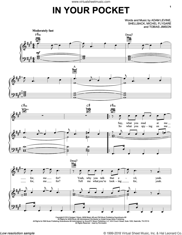 In Your Pocket sheet music for voice, piano or guitar by Maroon 5, Adam Levine, Michel Flygare, Shellback and Tobias Jimson, intermediate skill level