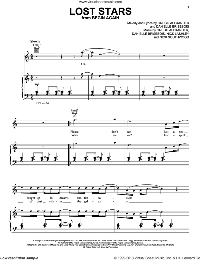 Lost Stars sheet music for voice, piano or guitar by Maroon 5, Danielle Brisebois, Gregg Alexander, Nick Lashley and Nick Southwood, intermediate skill level