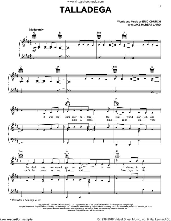 Talladega sheet music for voice, piano or guitar by Eric Church and Luke Robert Laird, intermediate skill level