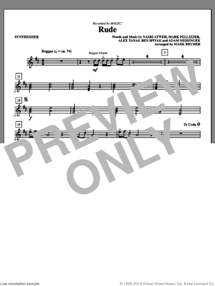 Rude (arr. Mark Brymer) (complete set of parts) sheet music for orchestra/band by Mark Brymer, Adam Messinger, Alex Tanas, Ben Spivak, MAGIC!, Mark Pellizzer and Nasri Atweh, intermediate skill level