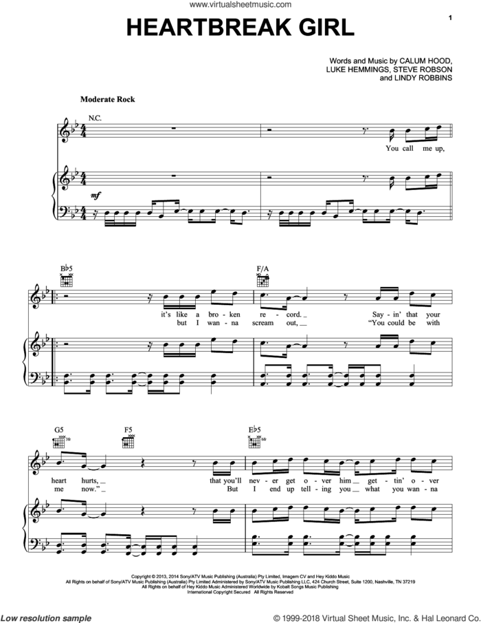 Heartbreak Girl sheet music for voice, piano or guitar by 5 Seconds of Summer, Calum Hood, Lindy Robbins, Luke Hemmings and Steve Robson, intermediate skill level