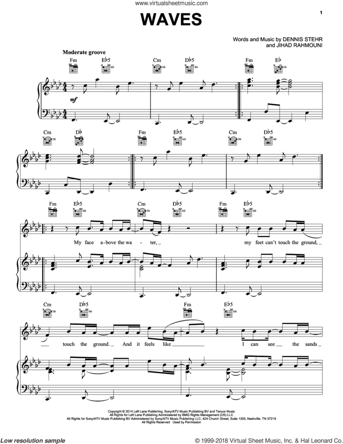 Waves sheet music for voice, piano or guitar by Mr. Probz, Dennis Stehr and Jihad Rahmouni, intermediate skill level