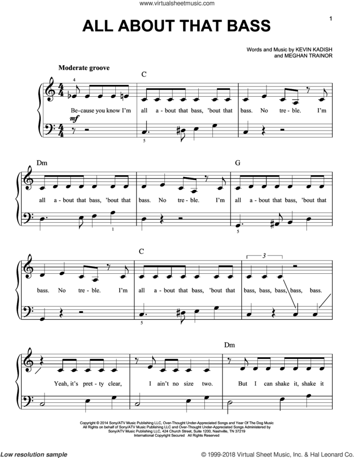 All About That Bass, (beginner) sheet music for piano solo by Meghan Trainor, Kevin Kadish and Meghan Trainer, beginner skill level