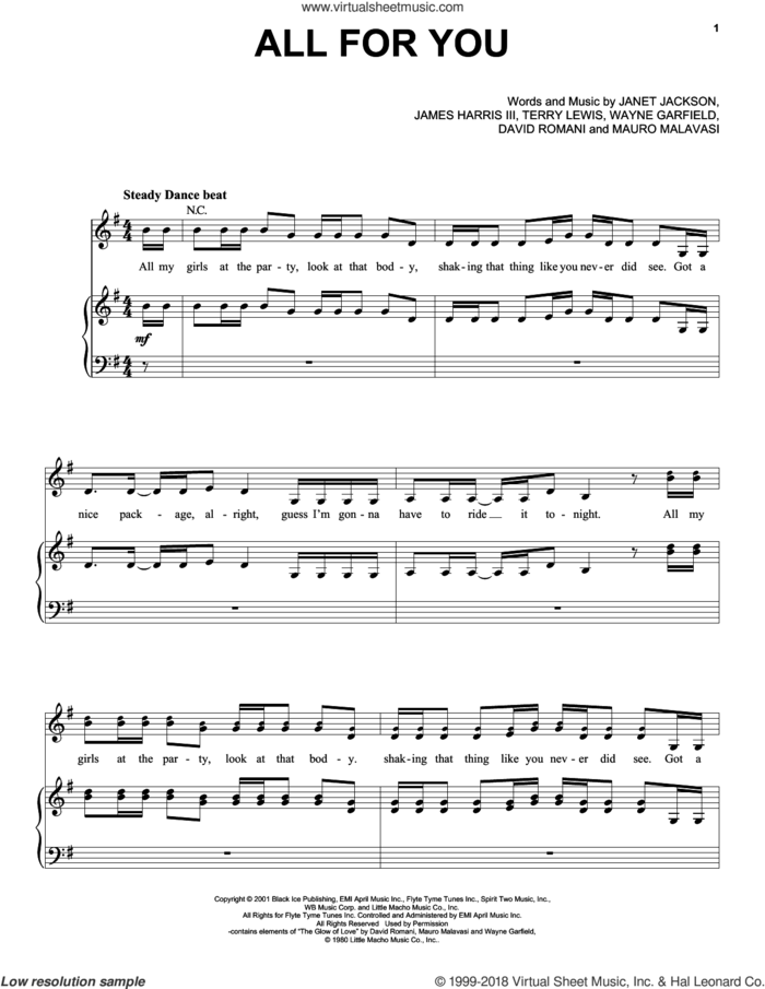 All For You sheet music for voice, piano or guitar by Janet Jackson, David Romani, James Harris, Janet, Mauro Malavasi, Terry Lewis and Wayne Garfield, intermediate skill level