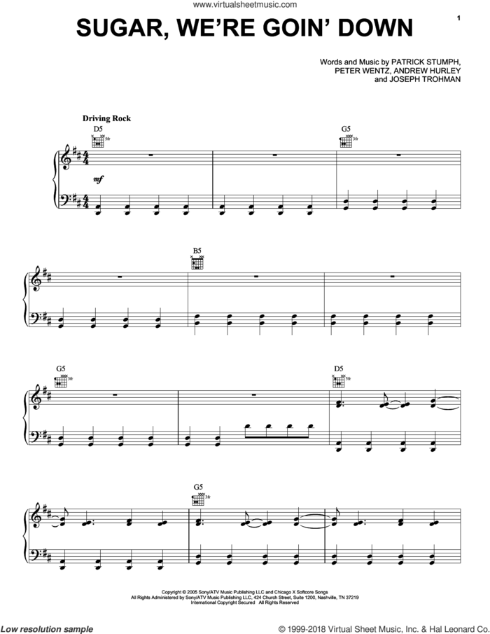 Sugar, We're Goin' Down sheet music for voice, piano or guitar by Fall Out Boy, Andrew Hurley, Joseph Trohman, Patrick Stumph and Peter Wentz, intermediate skill level
