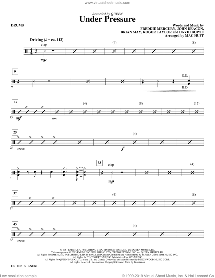 Under Pressure (arr. Mac Huff) (complete set of parts) sheet music for orchestra/band by Mac Huff, Brian May, David Bowie, Freddie Mercury, John Deacon, Queen, Queen & David Bowie and Roger Taylor, intermediate skill level