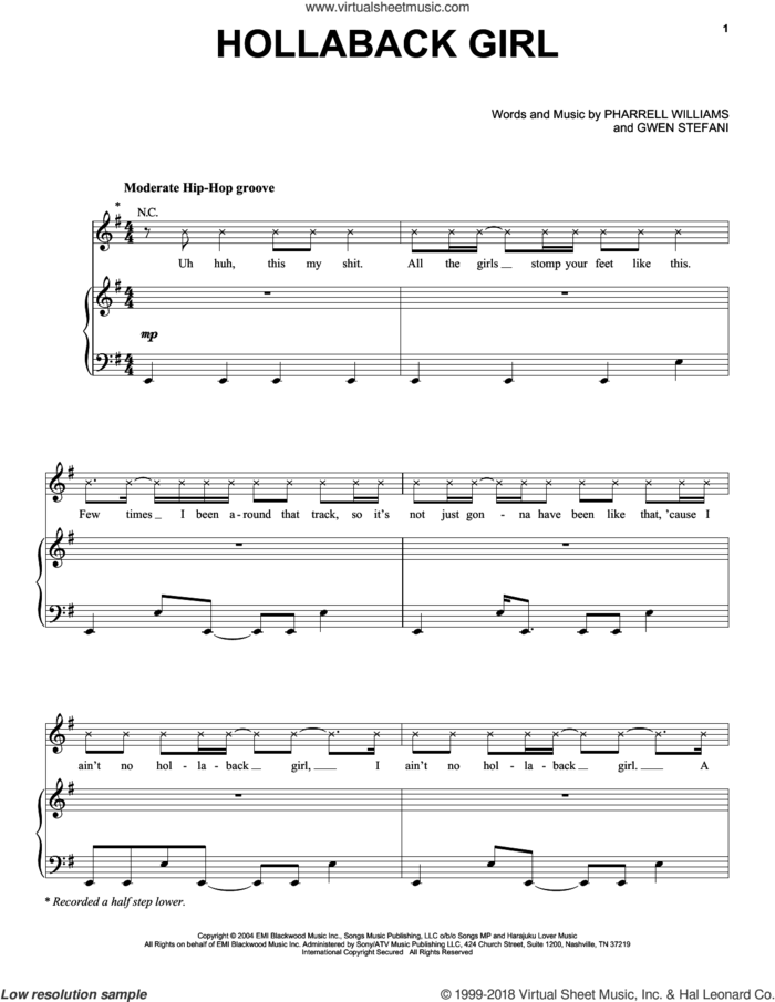 Hollaback Girl sheet music for voice, piano or guitar by Gwen Stefani and Pharrell Williams, intermediate skill level