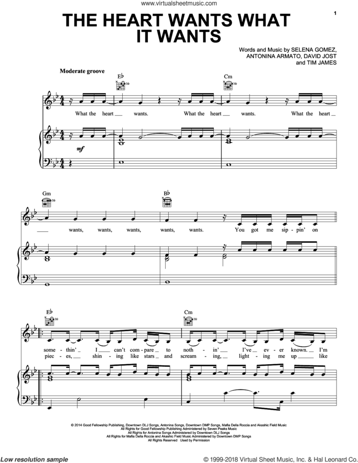 The Heart Wants What It Wants sheet music for voice, piano or guitar by Selena Gomez, Antonina Armato, David Jost and Tim James, intermediate skill level