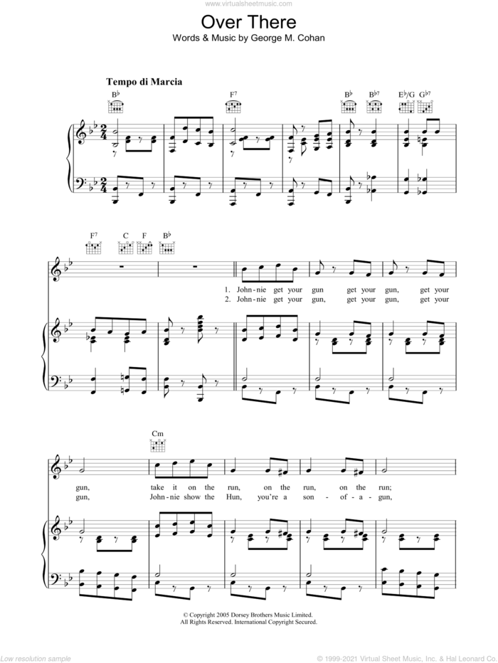 Over There sheet music for voice, piano or guitar by James Cagney and George Cohan, intermediate skill level