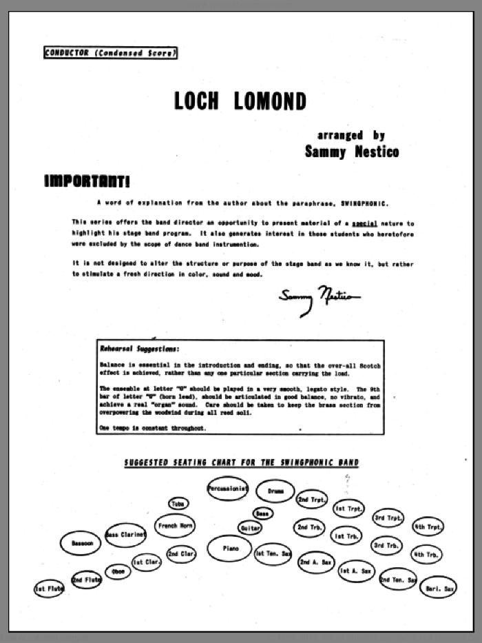 Loch Lomond (COMPLETE) sheet music for jazz band by Sammy Nestico, intermediate skill level