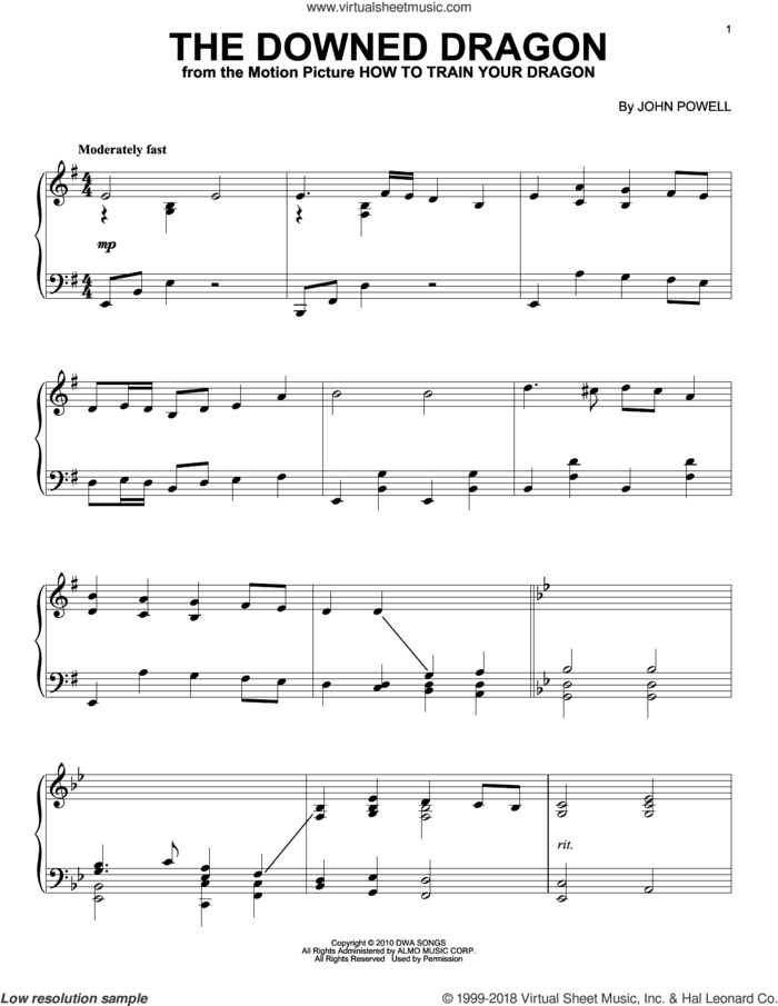 The Downed Dragon (from How to Train Your Dragon) sheet music for piano solo by John Powell, intermediate skill level