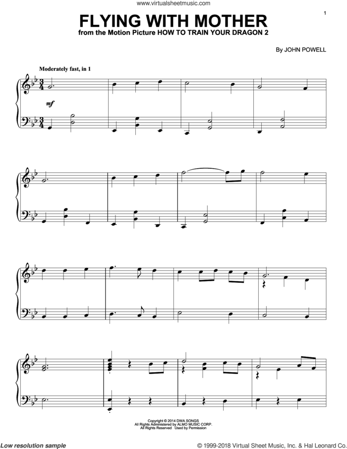 Flying With Mother (from How to Train Your Dragon 2) sheet music for piano solo by John Powell, intermediate skill level