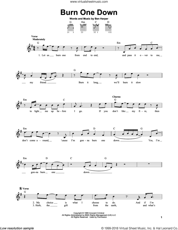 Burn One Down sheet music for guitar solo (chords) by Ben Harper, easy guitar (chords)