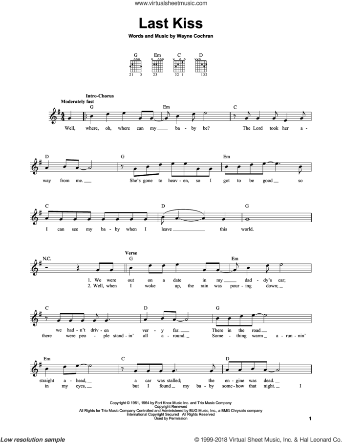 Last Kiss sheet music for guitar solo (chords) by Pearl Jam, J. Frank Wilson and Wayne Cochran, easy guitar (chords)