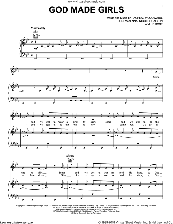 God Made Girls sheet music for voice, piano or guitar by RaeLynn, Liz Rose, Lori McKenna, Nicolle Galyon and Racheal Woodward, intermediate skill level