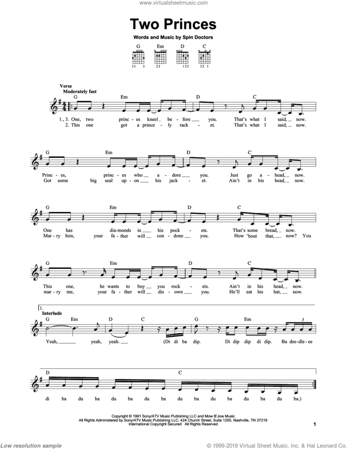 Two Princes sheet music for guitar solo (chords) by Spin Doctors, easy guitar (chords)