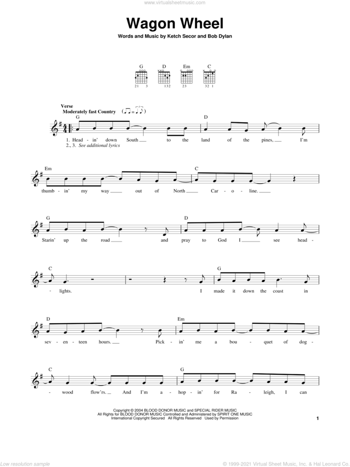 Wagon Wheel sheet music for guitar solo (chords) by Bob Dylan, Darius Rucker, Old Crow Medicine Show and Ketch Secor, easy guitar (chords)