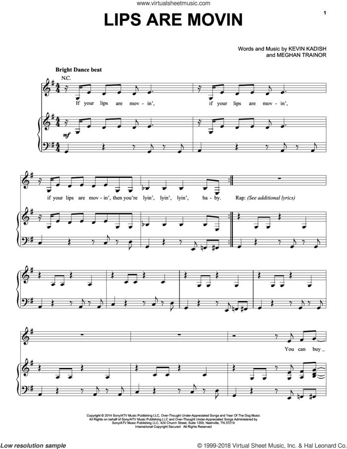 Lips Are Movin sheet music for voice, piano or guitar by Meghan Trainor, Kevin Kadish and Meghan Trainer, intermediate skill level