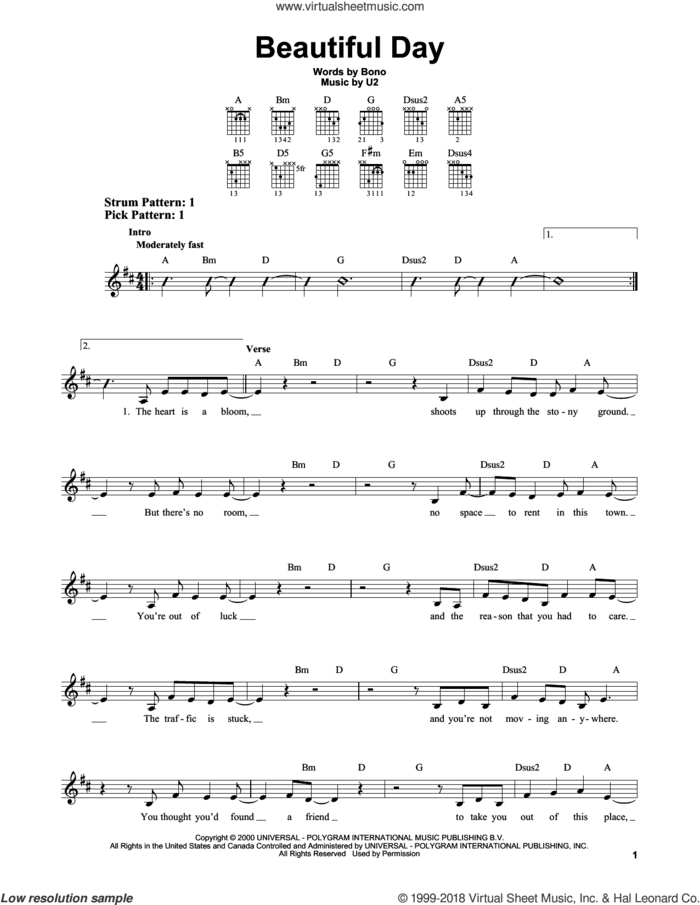 Beautiful Day sheet music for guitar solo (chords) by U2, Lee DeWyze and Bono, easy guitar (chords)