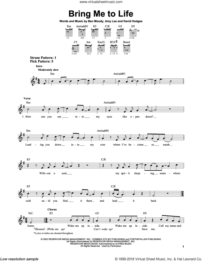 Bring Me To Life sheet music for guitar solo (chords) by Evanescence, Amy Lee, Ben Moody and David Hodges, easy guitar (chords)