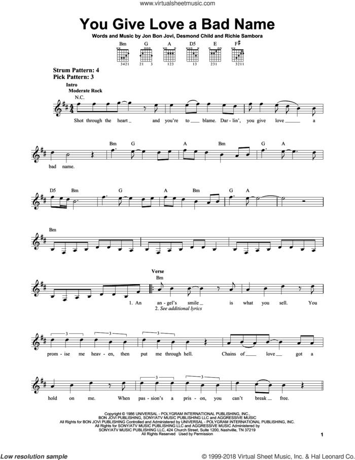 You Give Love A Bad Name sheet music for guitar solo (chords) by Bon Jovi, Blake Lewis, Desmond Child and Richie Sambora, easy guitar (chords)