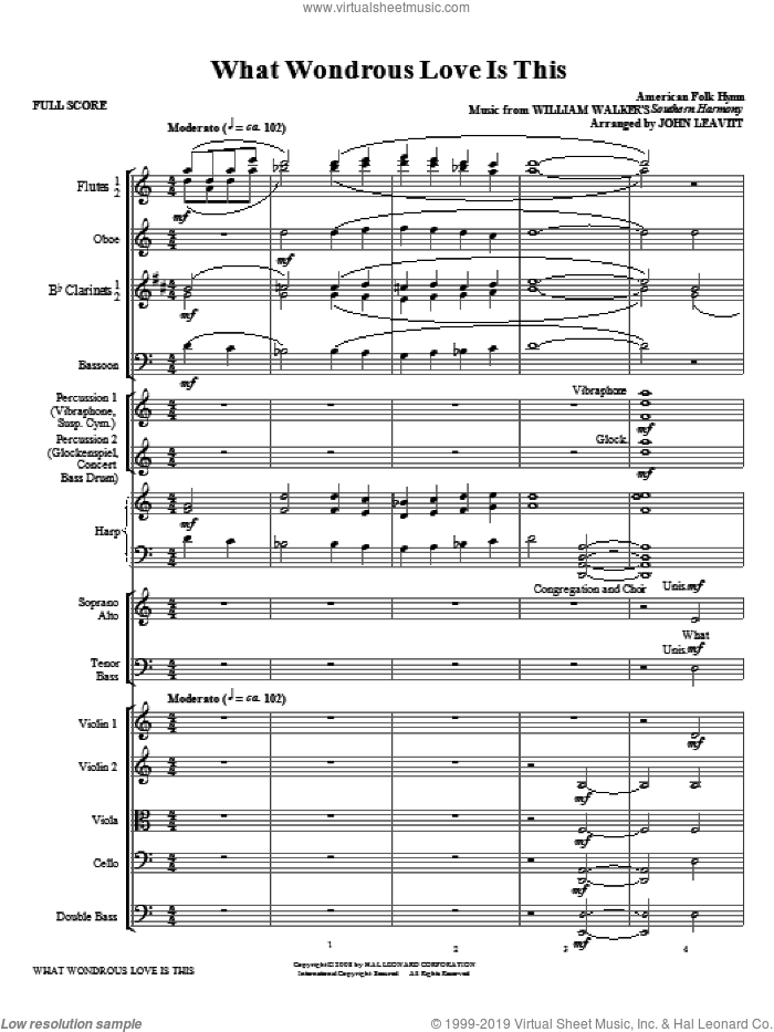 What Wondrous Love Is This (COMPLETE) sheet music for orchestra/band by John Leavitt and Billy Walker, intermediate skill level