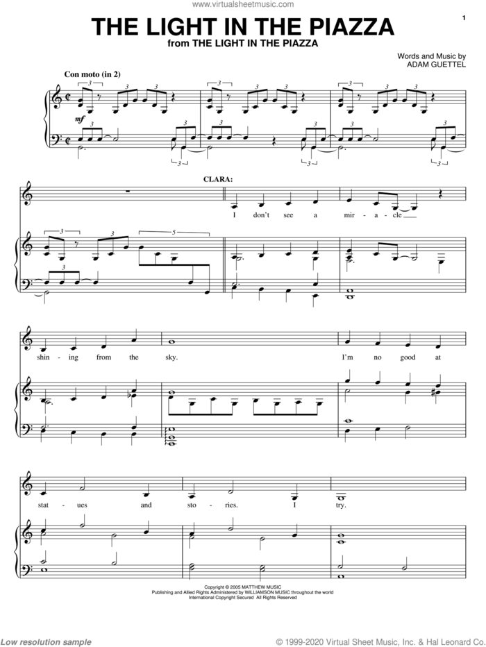 The Light In The Piazza sheet music for voice, piano or guitar by Adam Guettel and The Light In The Piazza (Musical), intermediate skill level