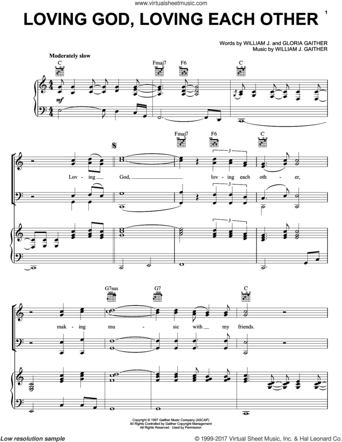 Loving God, Loving Each Other sheet music for voice, piano or guitar by Oak Ridge Boys, Gaither Vocal Band, The Oak Ridge Boys, Gloria Gaither and William J. Gaither, intermediate skill level
