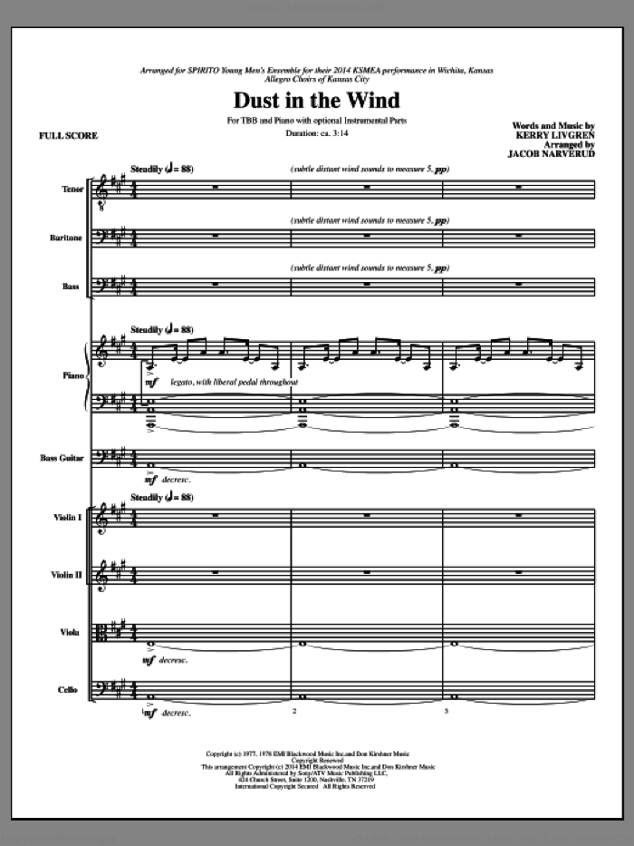 Dust In The Wind (COMPLETE) sheet music for orchestra/band by Kansas, Jacob Narverud and Kerry Livgren, intermediate skill level