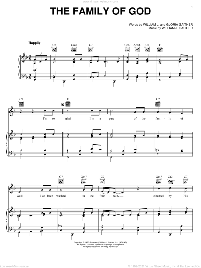 The Family Of God sheet music for voice, piano or guitar by Bill & Gloria Gaither, Bill Gaither, Gloria Gaither and William J. Gaither, intermediate skill level