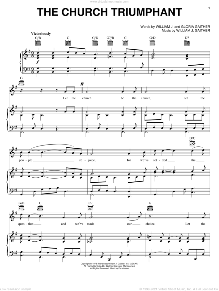 The Church Triumphant sheet music for voice, piano or guitar by Bill & Gloria Gaither, Bill Gaither, Gloria Gaither and William J. Gaither, intermediate skill level