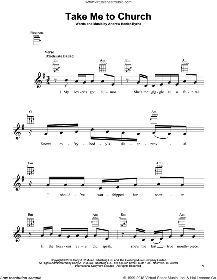 Take Me To Church sheet music for ukulele by Hozier and Andrew Hozier-Byrne, intermediate skill level