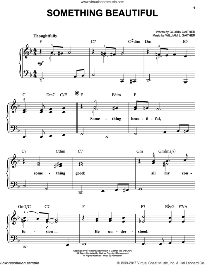 Something Beautiful sheet music for piano solo by Bill & Gloria Gaither, Gloria Gaither and William J. Gaither, easy skill level