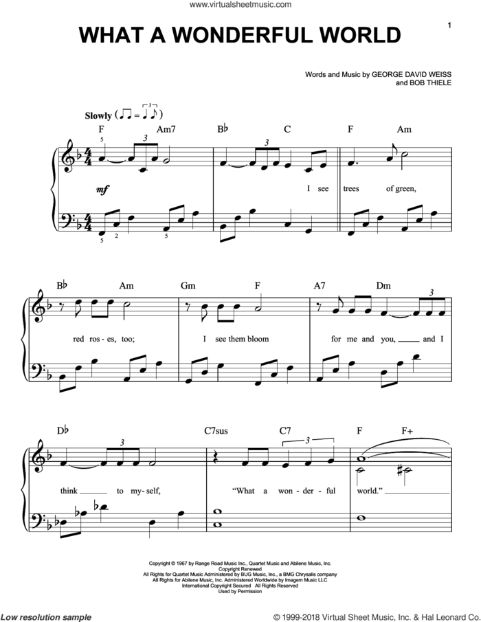 What A Wonderful World sheet music for piano solo by Louis Armstrong, Bob Thiele and George David Weiss, beginner skill level