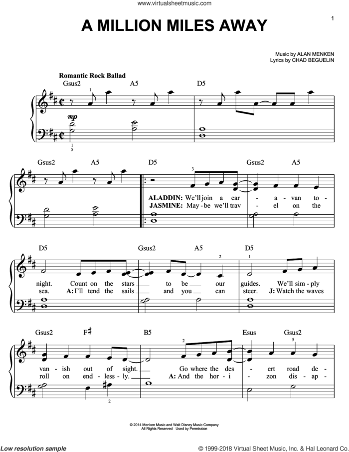 A Million Miles Away (from Aladdin: The Broadway Musical) sheet music for piano solo by Alan Menken and Chad Beguelin, easy skill level