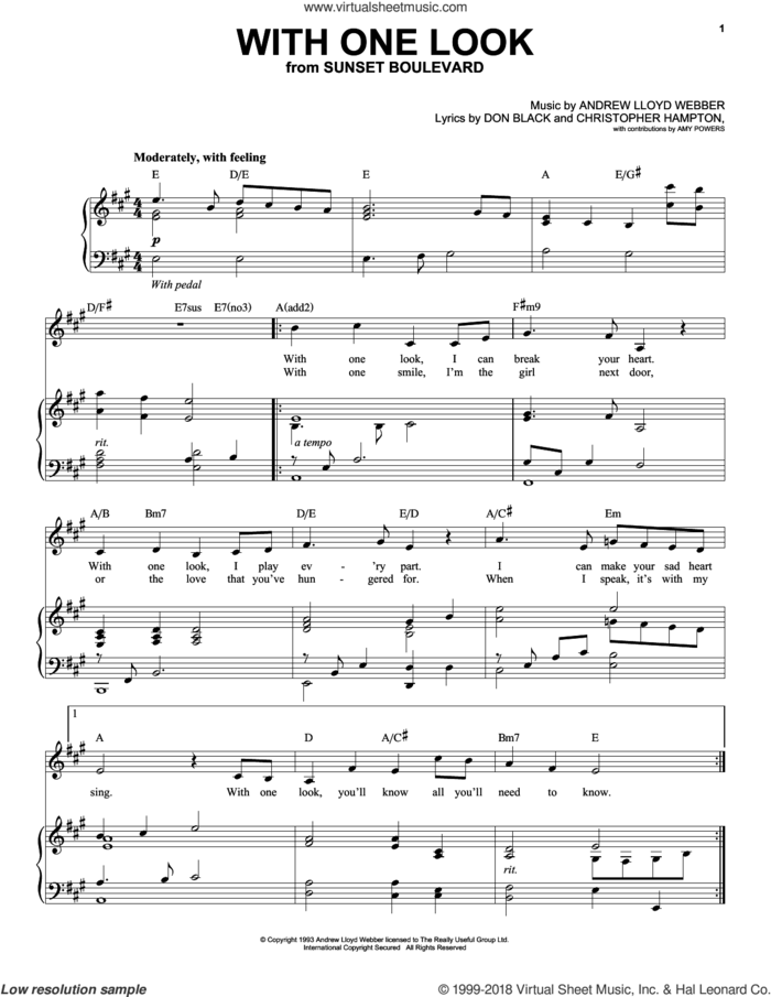 With One Look sheet music for voice and piano by Andrew Lloyd Webber, Christopher Hampton and Don Black, intermediate skill level