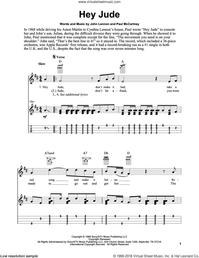 Hey Jude sheet music for ukulele (easy tablature) (ukulele easy tab) by The Beatles, Fred Sokolow, John Lennon and Paul McCartney, intermediate skill level