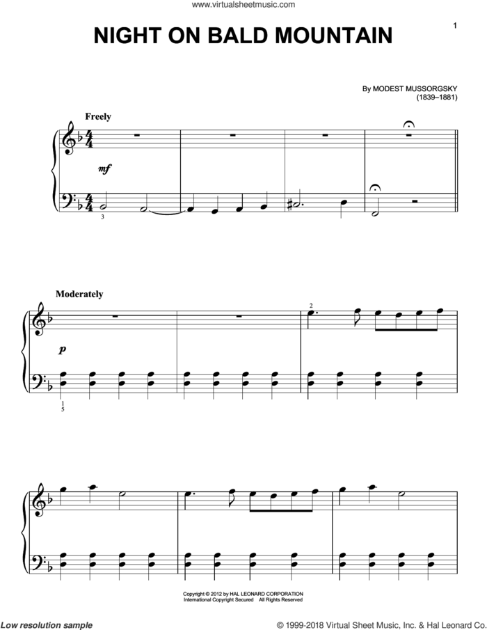 Night On Bald Mountain sheet music for piano solo by Modest Petrovic Mussorgsky, classical score, beginner skill level