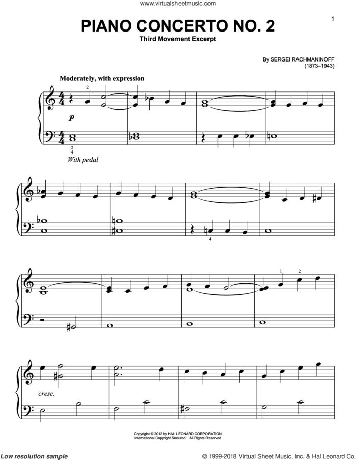 Piano Concerto No. 2, Third Movement Excerpt sheet music for piano solo by Serjeij Rachmaninoff, classical score, beginner skill level