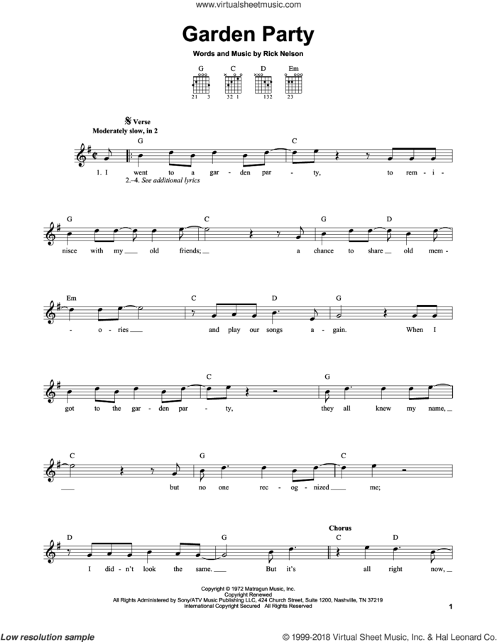Garden Party sheet music for guitar solo (chords) by Ricky Nelson, easy guitar (chords)