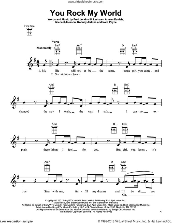 You Rock My World sheet music for ukulele by Michael Jackson, intermediate skill level