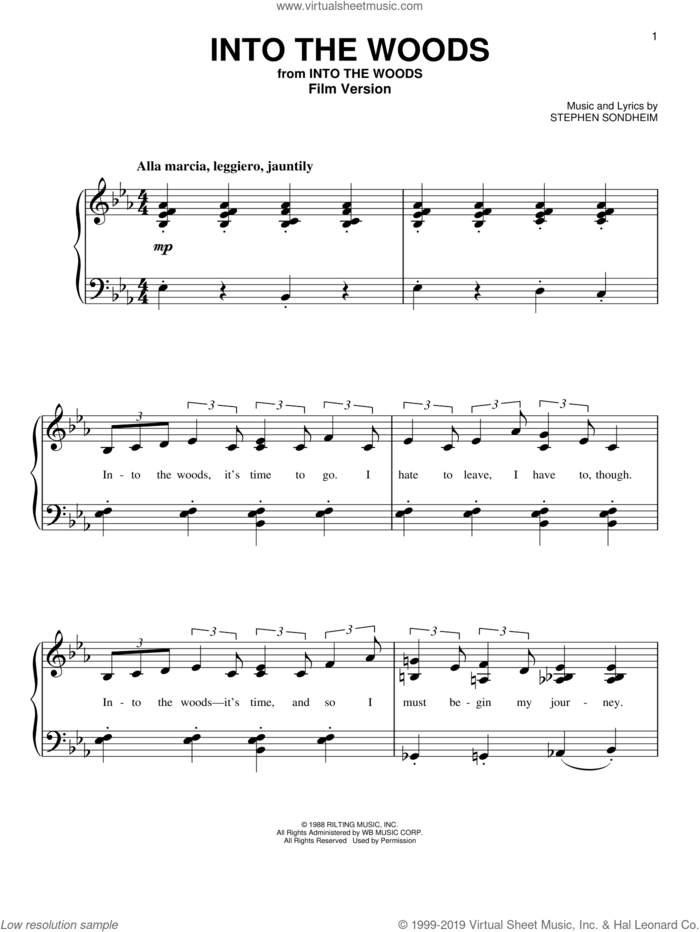 Into The Woods (Film Version) sheet music for piano solo by Stephen Sondheim, easy skill level