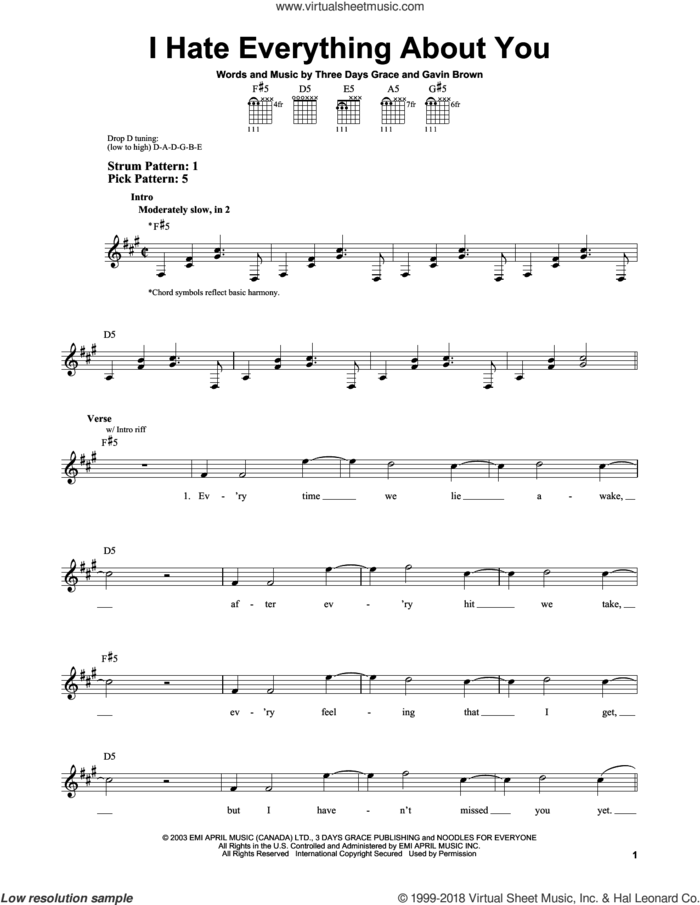 I Hate Everything About You sheet music for guitar solo (chords) by Three Days Grace and Gavin Brown, easy guitar (chords)