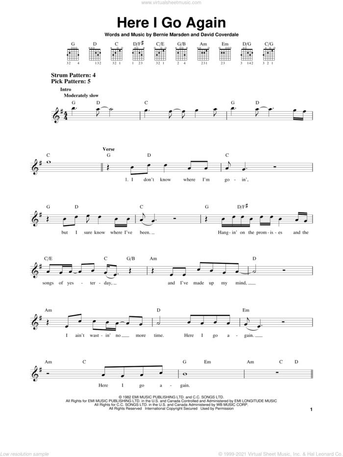 Here I Go Again sheet music for guitar solo (chords) by Whitesnake, Bernie Marsden and David Coverdale, easy guitar (chords)